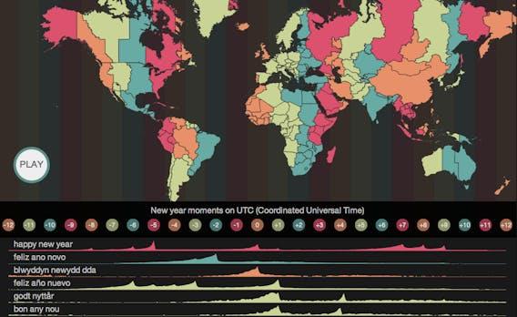 Twitter-Map: Interaktive Karte zeigt, wie Nutzer das neue Jahr eingeläutet haben