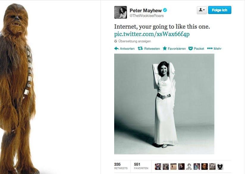 @TheWookieeRoars: Carrie Fisher als Prinzessin Leia. (Bild: Twitter)