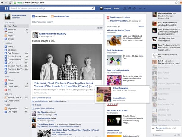 Facebook testet neues Newsfeed-Design. (Screenshot: FastCo. Design)