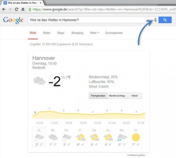 Google-Wetterbericht