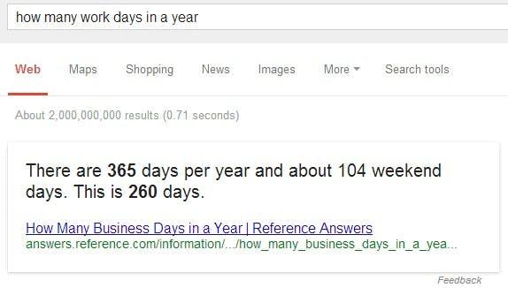 """Semantische Suche: """"how many work days in a year?"""" (Screenshot: Google-Suche)"""