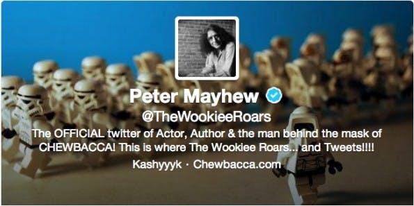 Der Twitter-Account @TheWookieeRoars stammt von Peter Mayhew. (Bild: Twitter)