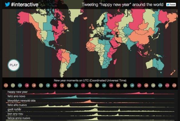 Twitter-Map zeigt Aktivitäten zum Jahreswechsel. (Screenshot: twitter.github.io)