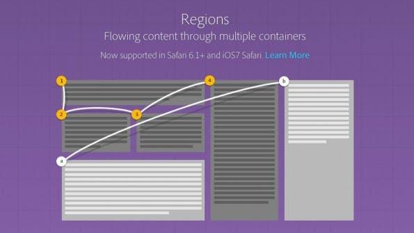 Google und Opera wollen die Unterstützung für CSS-Regions streichen. (Screenshot: Adobe)
