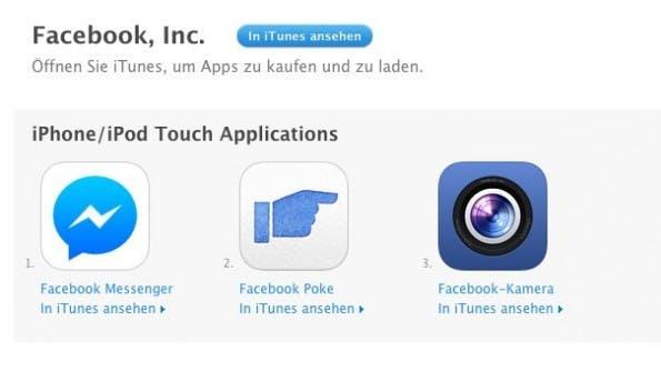 Die Anzahl der Facebook-Apps dürfte sich noch steigern. (Screenshot: Apple App-Store)
