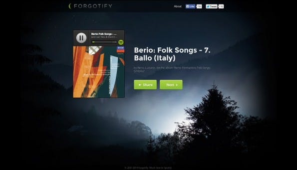 Forgotify zeigt euch die Lieder, die noch niemand auf Spotify angehört hat. (Screenshot: Forgotify)