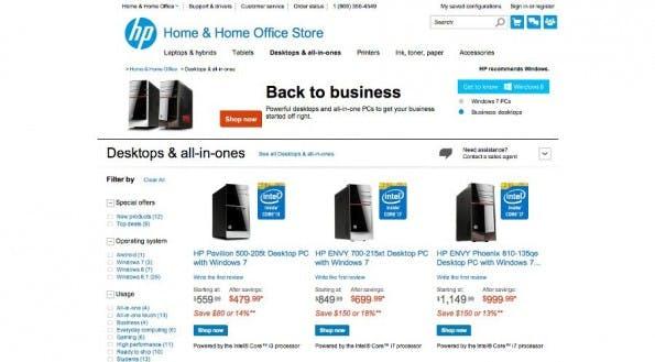HP: Konzern bewirbt und verauft wieder Windows-7-Rechner. (Screenshot: HP.com)
