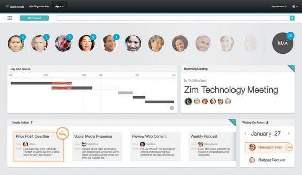 Mail Next: Die Oberfläche soll die jeweils wichtigsten Mails und Termine anzeigen. (Bild: IBM)
