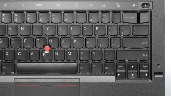 X1 Carbon: Statt normaler Funktionstasten gibt es einen kapazitiven Streifen über der Tastatur. (Bild: Lenovo)