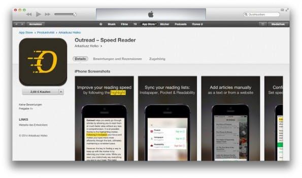 Outread: Die iPhone-App bringt euch bei, schneller zu lesen. (Screenshot: iTunes)