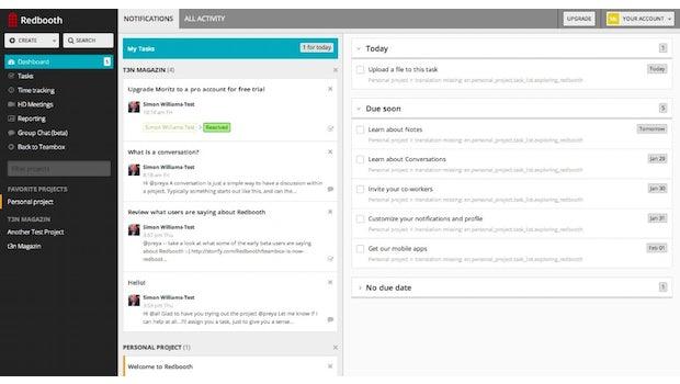 Redbooth: Das Dashboard bietet eine Übersicht über die gesamte Firma. (Screenshot: redbooth.com)