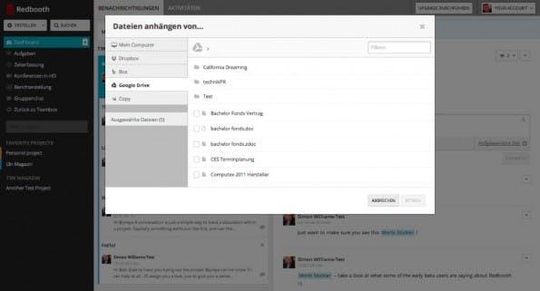Redbooth kann auch auf Dateien in Dropbox, Google Drive oder Box zugreifen. (Screenshot: redbooth.com)