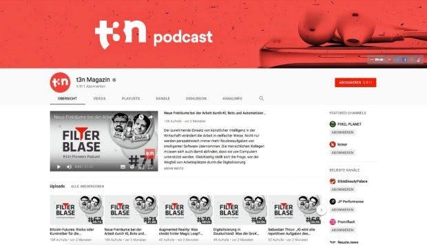 Unser hauseigener Youtube-Kanal für das t3n-Magazin: Auch die CI ist für die YouTube-Strategie wichtig. (Screenshot: YouTube)