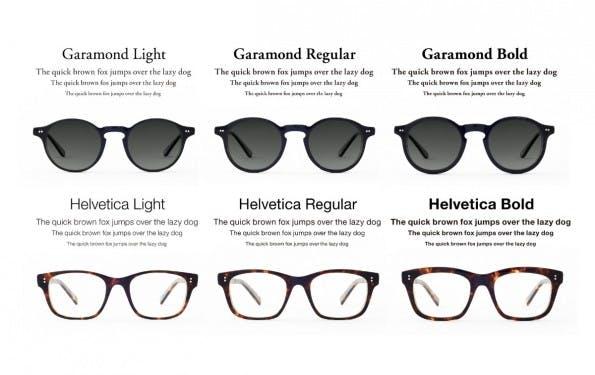"""Die Brillen der japanischen Firma """"TYPE"""" imitieren das Aussehen der Schriften Garamond und Helvetica. (Quelle: type.gs)"""