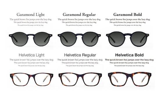 Helvetica Bold auf der Nase: Brillenkollektion ahmt Schriftarten nach
