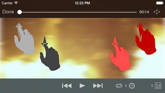 Eine Wischgeste im linken Bereich von VLC für iOS bewirkt eine Änderung der Display-Helligkeit. Im rechten Bereich ändert sich die Lautstärke. (Quelle: wiki.videolan.org)