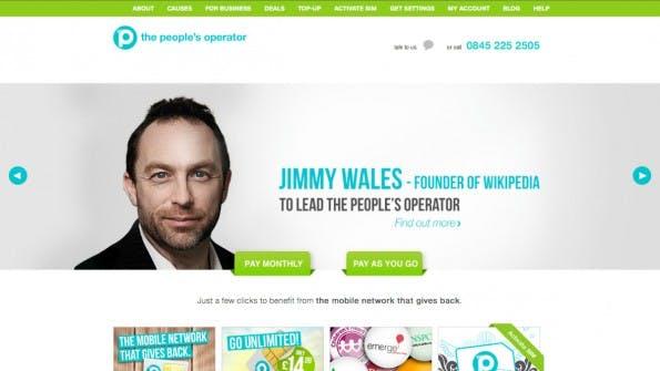Die neue Mission von Jimmy Wales: Der Wikipedia-Gründer will einen Mobilfunkanbieter mit sozialem Engagement zu Erfolg führen. (Screenshot: The Peoples Operator)