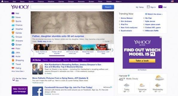 Die deutsche Version von Yahoo.com. (Screenshot: t3n)