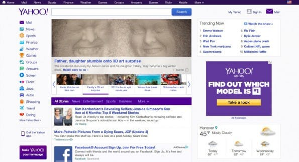 Die deutsche Version von Yahoo.com. (Screenshot: t3n)