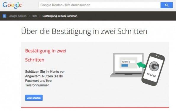 E-Mail-Account gehacked? Gmail bietet die Zwei-Faktor-Authentifizierung für mehr Sicherheit an. (Screenshot: Gmail)