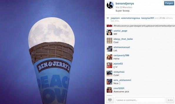 Erfolgreich sein auf Instagram: Kreative und stylische Inhalte für die Community. (Screenshot: @benandjerrys - instagram)