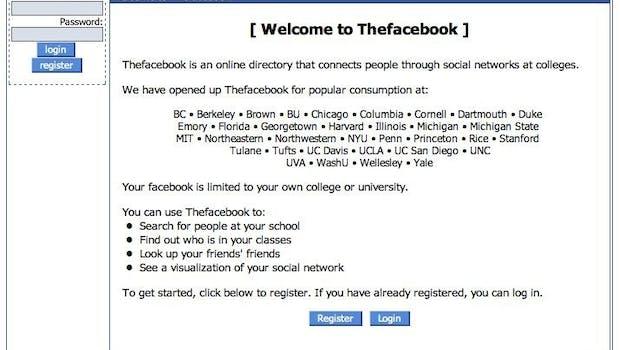 2004: Facebooks Startseite nach der Anmeldung. (Quelle: Facebook Craze)