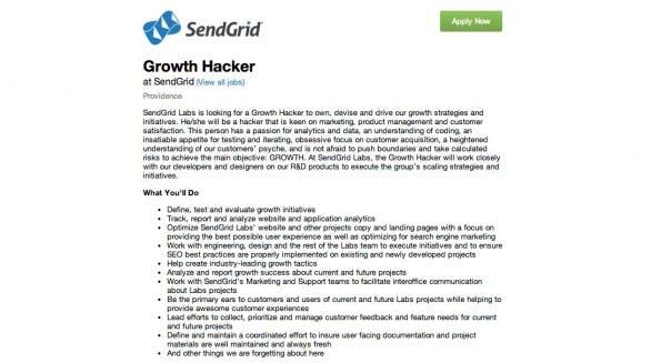 SendGrid auf der Suche nach einem Growth Hacker.  (Screenshot: boards.greenhouse.io)