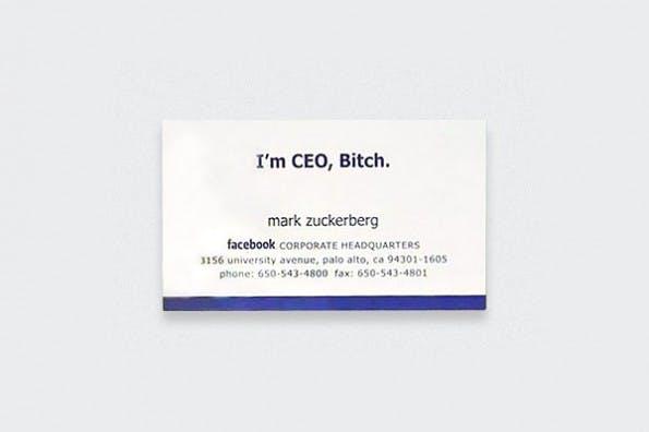 """Originale Visitenkarten: Mark Zuckerberg ließ sich auf seine Karte """"I'm CEO, Bitch!"""" drucken."""