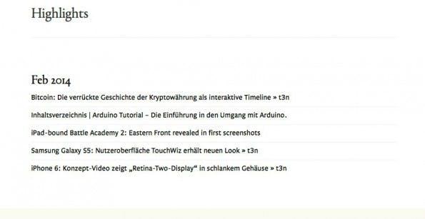 Alle gespeicherte Bookmarks sind über die Website von Gloss verfübar, sofern der Nutzer eingeloggt ist.