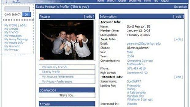 Die Profilseite der Anfangsjahre, als sich bei Facebook nur ausgewählte Netzwerke anmelden konnten. (Quelle: Mashable)