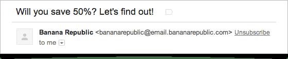 """So sieht er aus, der prominent platzierte """"Unsubscribe""""-Link in Gmail: Er ist direkt in der Kopfzeile neben dem Absenderfeld zu sehen. (Screenshot: The Verge)"""