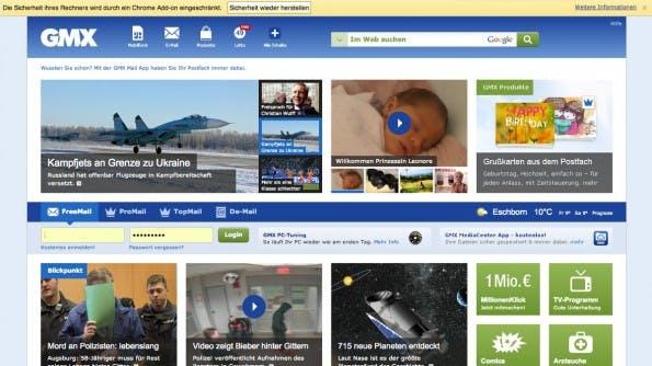 Werbeblocker: United Internet suggeriert Gefahr für die Sicherheit. (Screenshot: GMX)