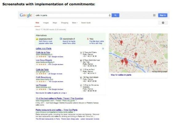 Die lokalen Ergebnisse bei Google nach der Einigung mit der EU. (Bild: europa.eu)