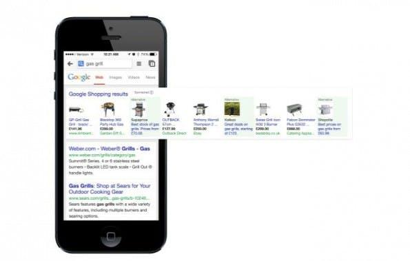 Auch die mobilen Ergebnisse von Google Shopping nach der Einigung mit der EU zeigen Treffer zur Konkurrenz deutlich prominenter. (Bild: europa.eu)