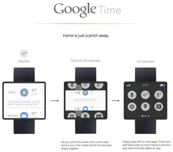 So könnte die Google Smartwatch aussehen: Die Datenuhr soll aktuellen Berichten zufolge ein Farb-Display und ein Kunstoffarmband erhalten. Die Uhr setzt auf Google Now. (Foto: © Adrian Maciburko / Dribbble)
