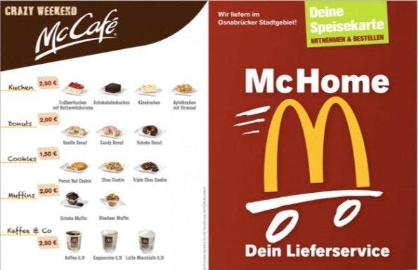 Der McDonald's Lieferservice in Osnabrück verlangt keine Liefergebühr, dafür sind die Preise höher angesetzt als im Restaurant.Zusätzlich wurden die Beträge gerundet um den Bedarf an Wechselgeld zu minimieren. (Screenshot: McDonald's Eckstein)