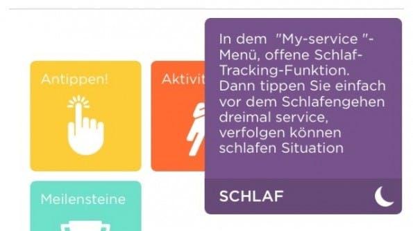 Misfit Shine: Einige kleinere Übersetzungsfehler haben sich in die App eingeschlichen. (Screenshot: Shine-App)