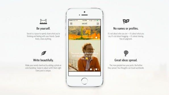 Die Secret-App: Um die iPhone-Anwendung, mit der man anonym Geheimnisse teilen kann, ist ein echter Hype entstanden. (Sreenshot: Secret)