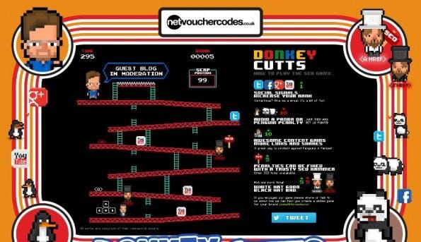 """Browser-Game: """"Donkey Cutts"""" macht aus SEO einen Donkey-Kong-Klon. (Screenshot: netvouchercodes.co.uk)"""