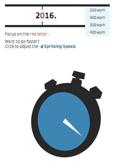 Spritz lässt den Leser die Geschwindigkeit zwischen 250 und 400 Wörtern pro Minute festlegen. (Quelle: learn2spritz.com)