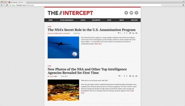 "Seit heute ist ""The Intercept"" online. (Screenshot: The Intercept)"