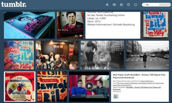 Suchergebnisse für t3n bei tumblr. (Screenshot: tumblr)