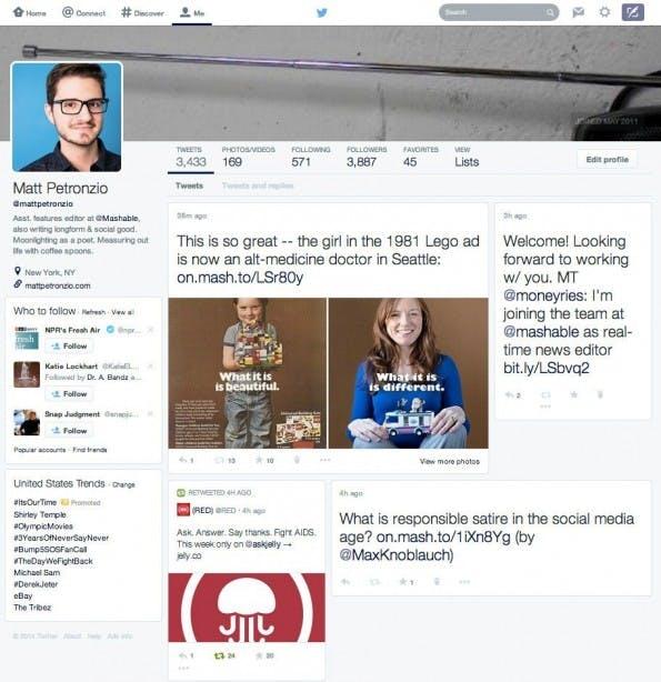 Die neue Twitter-Profilseite erinnert stark an eine Mischung aus Facebook und Google+. (Quelle: mashable.com)
