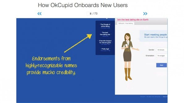 Onboarding: Hier der Online-Dating-Service OkCupid. (Screenshot: User Onboarding)