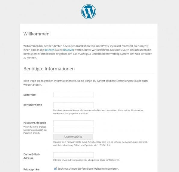 Konfigurationsseite der WordPress-Installation. (Screenshot: eigene WordPress-Installation)