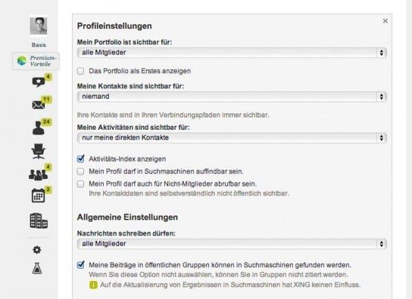 Die Option zur Sichtbarmachung des Xing-Profils in Suchmaschinen findet sich in den Einstellungen. (Screenshot: t3n)