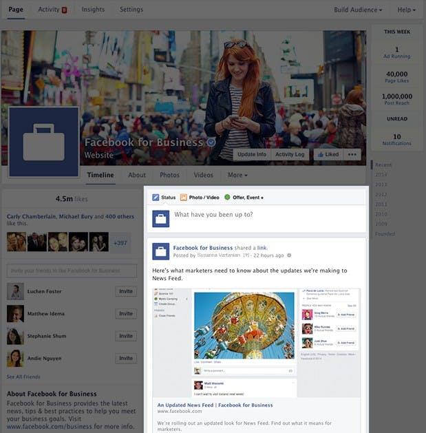 Neue Facebook-Pages: Überarbeitete Timeline. (Screenshot: Facebook)