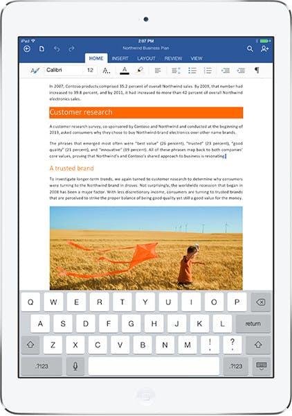 Microsoft Office für das iPad. (Bild: Microsoft)