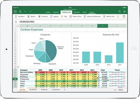 Excel ist jetzt auch für das iPad verfügbar. (Bild: Microsoft)