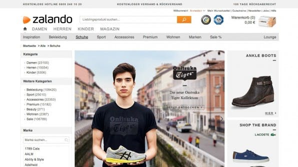 Content-Grouping: Ein top Feature, vor allem für Online-Shops. (Screenshot: zalando.de)
